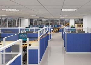Vách ngăn văn phòng nỉ - kính VNK09 kích thước tiêu chuẩn