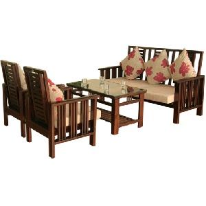 Bộ sofa gỗ tự nhiên Hòa Phát SF71 thanh lịch sang trọng