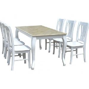 Bộ bàn ghế ăn gỗ tự nhiên mặt đá nhân tạo cao cấp HGB61, HGG61
