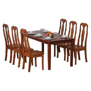 Bộ bàn ghế ăn gỗ tự nhiên 6 người ngồi TB03, TGA01