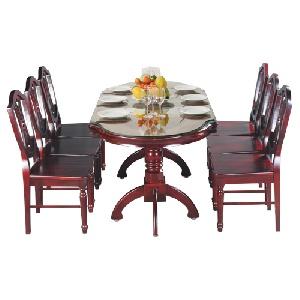 Bộ bàn ghế phòng ăn gỗ tự nhiên màu trầm TB10, TGA08