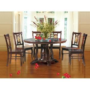 Bộ bàn ghế phòng ăn hình tròn gỗ tự nhiên mã TB21, TGA21